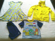 Pokemon Pikachu Girls Clothing Lot Size 9-10 Dress, Pikachu Hoodie Size M, Pjs 8