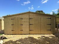 GARDEN SHED / GARAGE TANALISED SUPER HEAVY DUTY 20x12 APEX 19MM T&G. 3X2.