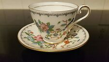 Flawed Aynsley Pembroke Gold Trim Bone China Tea Cup Saucer Bird Flower England