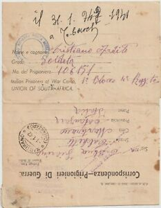 1941 South Africa Italian prisoners of war camp to Italy