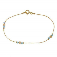 Blue Opal Ankle Bracelet Jewelry Gold Filled Chain Beach Anklet Length 8.5 cm +