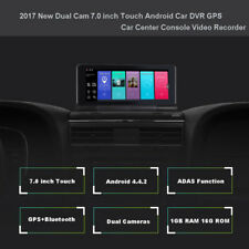 "7"" HD Touch Car DVR GPS Android Bluetooth ADAS Video Recorder Dual Cam Navigator"