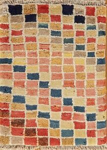 Checked Gabbeh Oriental Area Rug Modern Hand-Knotted Multi-Colored Carpet 2'x2'