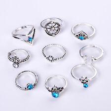 Set of 9pcs Silver Ring Blue Crystal Midi Bohemian Women Retro Stack Knuckle