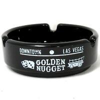 VTG Golden Nugget Casino Ashtray Downtown Las Vegas Fremont Black & White Glass