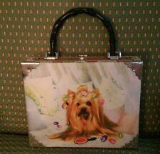 BLOSSOM Yorkie Cigar Box Purse Women's Bag Rhinestone Clutch Handbag No Strap