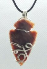 Stone Arrowhead Wire Wrapped Pendant Necklace Handcrafted Artisan Jewelry 7ah25