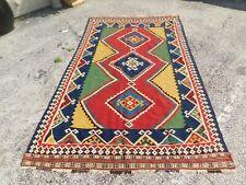 Antique turkish Rug Carpet Kilim Rare Hand Made WOOL 5' BY 8'
