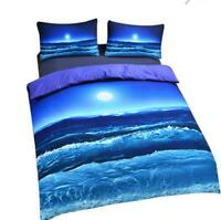 Ocean Beach Duvet Quilt Cover Bedding Set Pillowcase All Sizes moonlight 3pcs