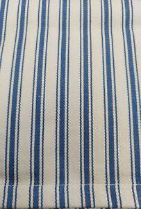"""NEW GARNET HILL Queen Bedskirt Ticking Stripe Dust Ruffle Blue Beige  14"""" Drop"""