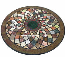 """60"""" round black Marble dining / center Table Top home Decor marquetry"""