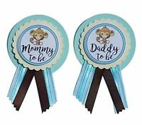 Mommy & Daddy to Be Monkey Pins Baby Shower Blue & Brown pin wear at Baby Shower