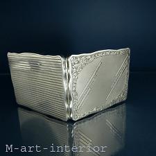 feine Art Déco 900 Silber Schmindose Spiegel Etui Box Case Czechoslovakia c 1930