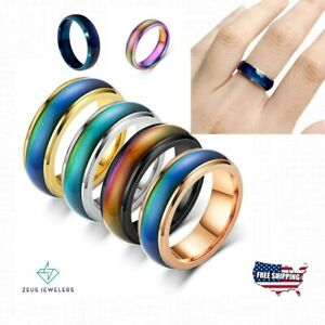 Stainless Steel Color Changing Mood Ring Temperature Rings For Women and Men
