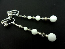 A PAIR TIBETAN SILVER WHITE JADE BEAD  EXTRA LONG DANGLY CLIP ON EARRINGS. NEW.