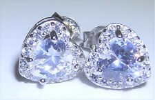 STERLING SILVER (925) HEART SIMULATED DIAMOND CLUSTER STUD EARRINGS (g51033)