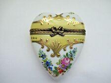 Peint Main Limoges Trinket-Golden Heart Box