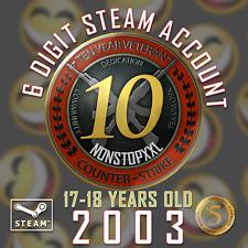 Steam Account (2003, 6 DIGIT, 17-18 Years)   CS:GO 10 YEAR COIN + 5 YEAR COIN