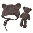 Newborn Baby Girl Boy Photography Prop Photo Crochet Knit Costume Bear Hat Set