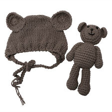 Newborn Baby Girl Boy Photography Prop Photo Crochet Knit Costume Bear +Hat Set