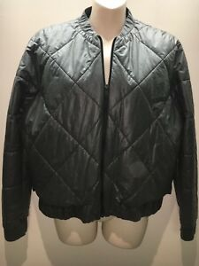 Scanlan Theodore Charcoal Grey Quilted Bomber Puffer Jacket Size ML Fit 12 14