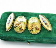 Antique RARE Sterling Silver cufflinks Hand Painted Lucite Japanese gift #R845