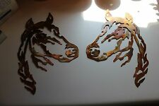 Horse Head Metal Wall Art pair of 2 Western Decor