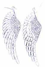 9cm silver tone angel wing dangle earrings with crystal