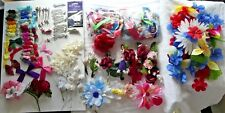Huge Lot 151+ Floral Craft Supplies: Faux Flowers/Ribbon/Hair Clips/Bows/Corsage