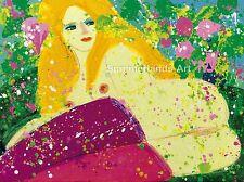 "Walasse Ting ""mariposa amor' 1979-Fine Art Print, Picasso, Fantasía"