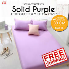 3Pc Bedsheet Set. Solid Purple Queen. 1 Fitted Sheet+2 Pillow Case. Max ht-30cm
