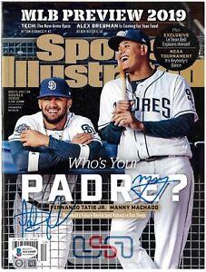 Fernando Tatis Jr. Manny Machado Padres Signed Sports Illustrated JSA BAS Auth