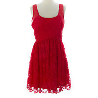 TOPSHOP Women's Red Sleeveless Lace Left Side Zip Dress 35P42A US Size 8 NEW