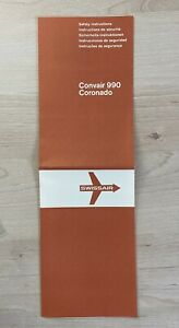 old Safety Card Swissair Convair 990 Coronado