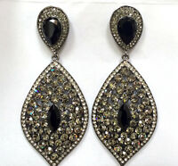 Butler and Wilson Pewter Pointed Oval Drop Earrings NEW