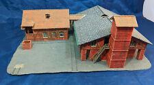 "HO scale model 12"" inch BRICK WAREHOUSE Station Depot RED BUILDING VINTAGE."