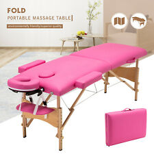 """84""""L Portable 2 Folds Massage Table Bed Facial Spa Tattoo With Carry Case Pink"""
