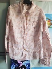 MOOKS womens peach& bronze printed collared long sleeve shirts   top