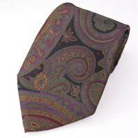 Ralph Lauren Purple Label Men's Silk Green Paisley Wide Necktie 60L 4.50 W