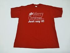 Jerzees Mens or Womens Size L Ugly Merry Christmans T Shirt Great Condition
