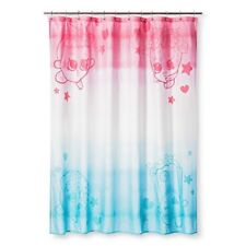 "Shopkins Fabric Shower Curtain 72"" x 72"" Pink White Blue 100% Polyester Nwt"