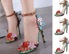Womens Open Toe High Stiletto Heel Shoes Ankle Strap Flower Decor Snake Sandals