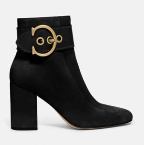Coach  Black Suede Dara Boots With Gold Buckle RRP£175 Size 4/36.5