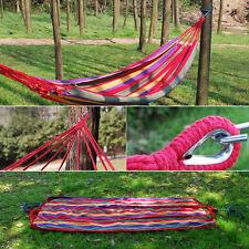 Hamac Lit Coton Corde Rayure Tissu Pr Jardin Camping Voyage Randonnée Extérieur