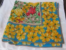 """Adrienne Vittadini 30"""" Silk Scarf Vintage Vibrant flowers Tulip Daffodils Bright"""