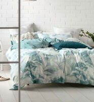 Linen House Winter Garden Mint Queen King Super King Quilt Cover Set | Cotton