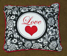Valentine's Day Love Heart w/Black & White Floral Square Pillow