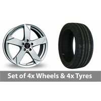 "4 x 17"" Wolfrace Kodiak Polar Silver Alloy Wheel Rims and Tyres -  245/45/17"