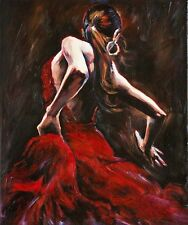 hot! Spanish Flamenco Dancer in Red Dress Oil Painting on Canvas(no framed)