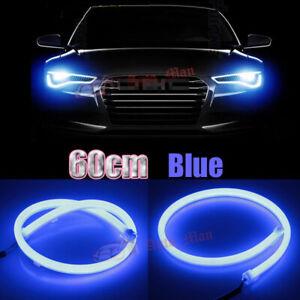 2x 60cm Blue LED Strip Lights for Car Motorcycle Headlight DRL Flexible Tube